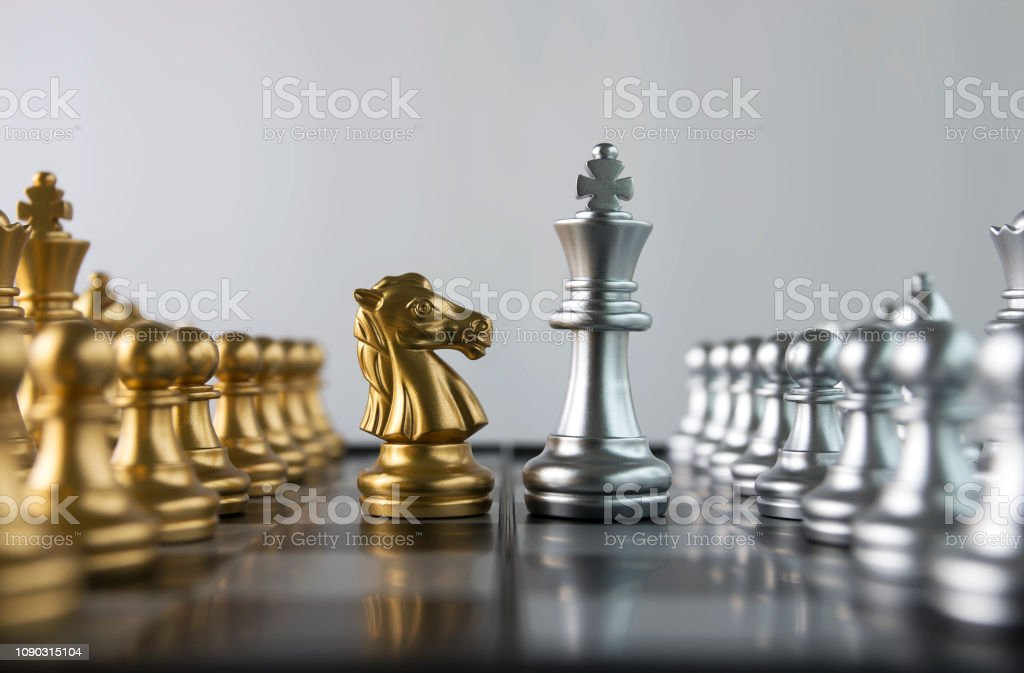 Chess on white background. Strategy, market share, business...
