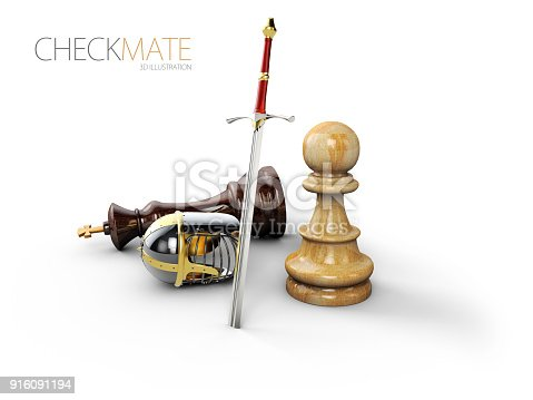 istock A chess pawn in a knights armor, 3d Illustration 916091194