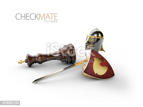 istock A chess pawn in a knights armor, 3d Illustration 916091234