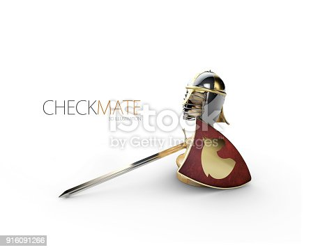 istock A chess pawn in a knights armor, 3d Illustration 916091266