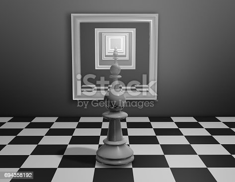 istock Chess pawn looking in mirror with many reflections. 694358192