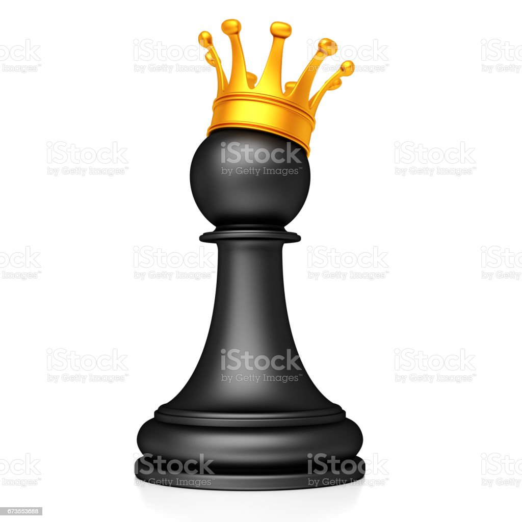 Chess pawn with golden crown isolated on the white background royalty-free stock photo
