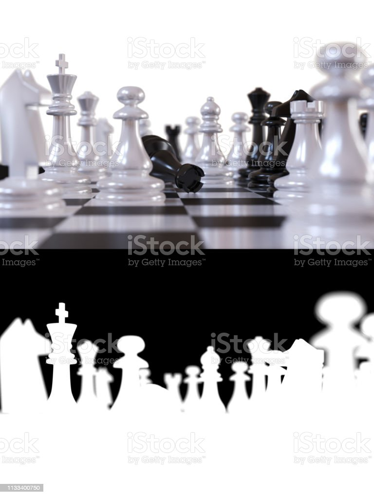 Chess pieces extremely close up stock photo