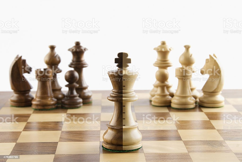 chess pieces on a chessboard royalty-free stock photo