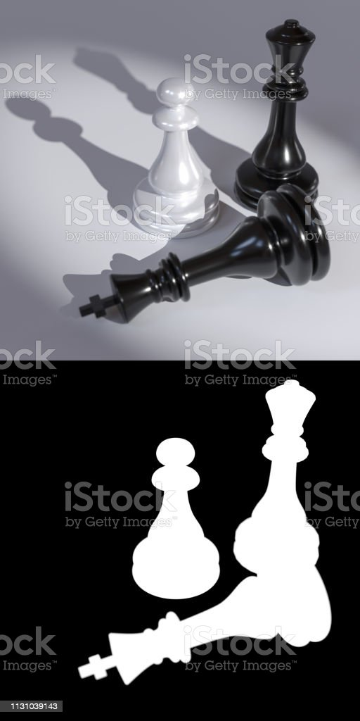 Chess pieces on a white background close-up stock photo