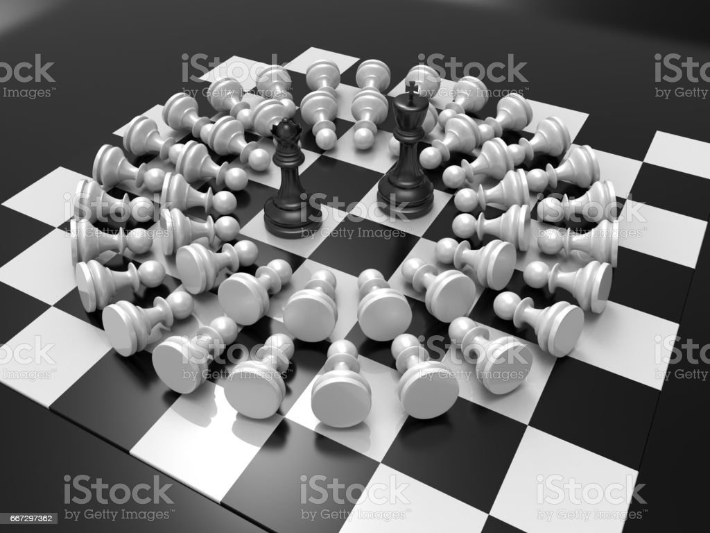 Chess Pieces On Table King And Queen Black Background 3d Rendering Stock Photo Download Image Now Istock