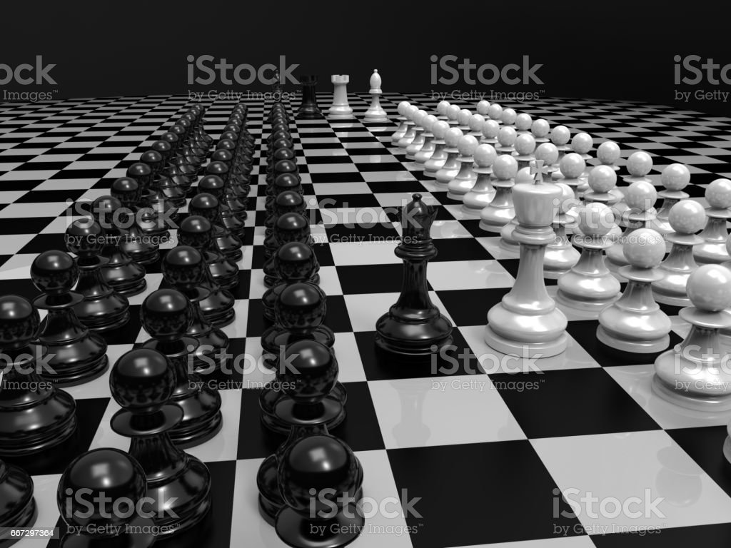Chess pieces on table king and queen black background 3d rendering royalty