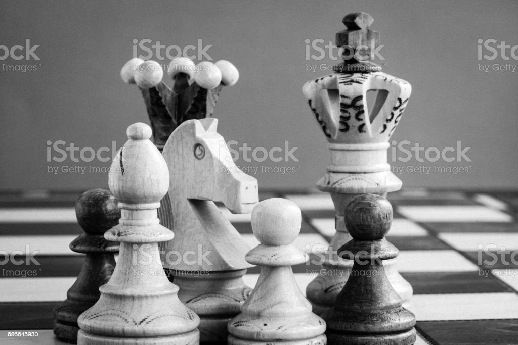 chess pieces on the chessboard royalty-free stock photo