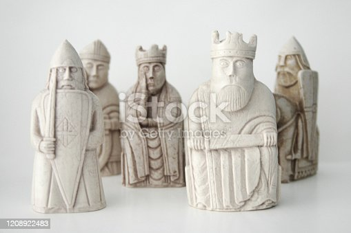 Replicas of the Isle of Lewis chessmen found in 1831 on the Isle of Lewis dating back to the 12th century. Believed to have been made in Norway.
