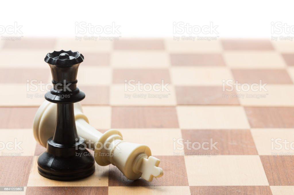 Chess pieces set on a chessboard royaltyfri bildbanksbilder