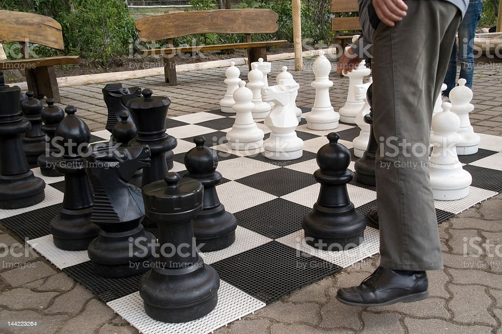 chess player in the park stock photo