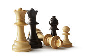 Chess: Queens, King, Bishop and Pawn Isolated on White Background