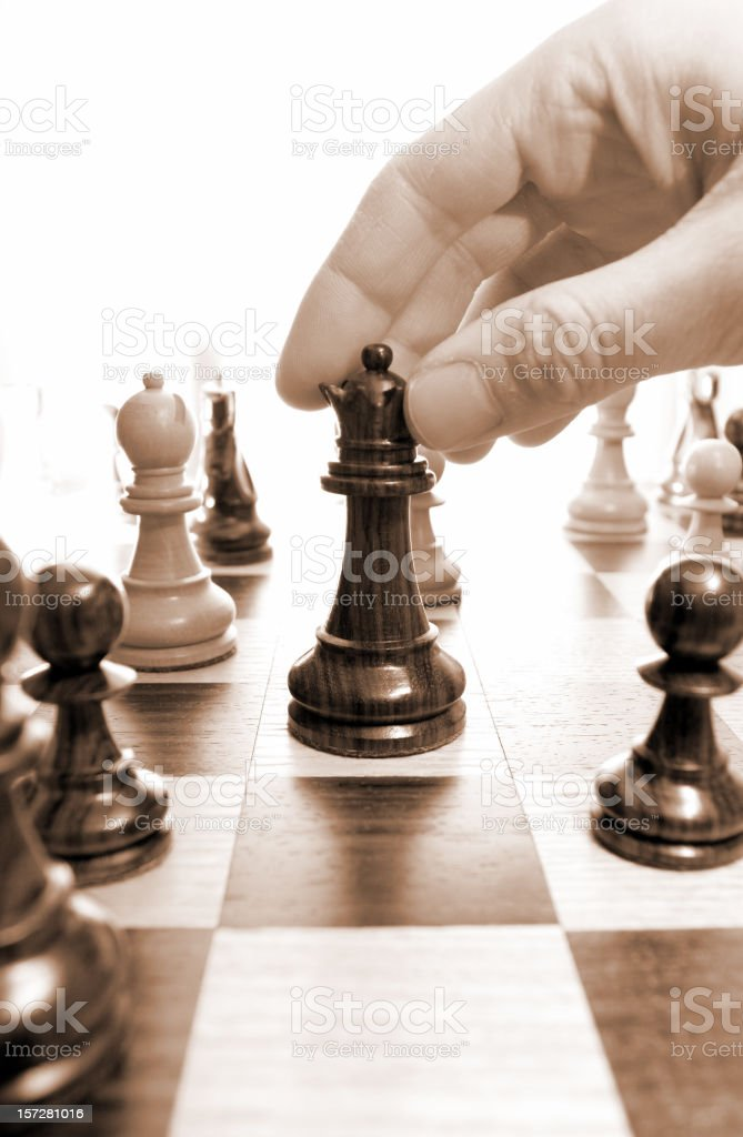 Chess, Queen's move royalty-free stock photo