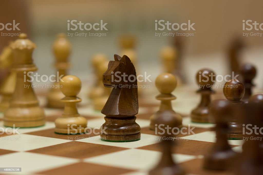 Chess set and pieces stock photo