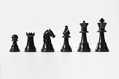 Chess Set. Black Chess Pieces Isolated on White Background. Chess Concepts.