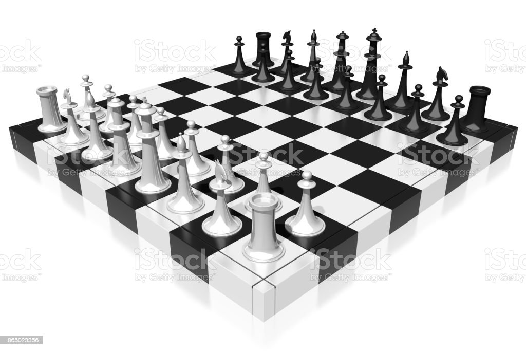 3d Chess Set Stock Photo - Download Image Now - iStock
