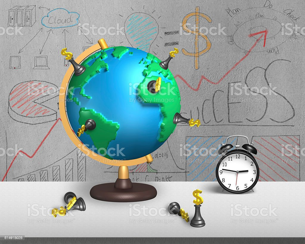 chess stand on 3d map globe with alarm clock stock photo