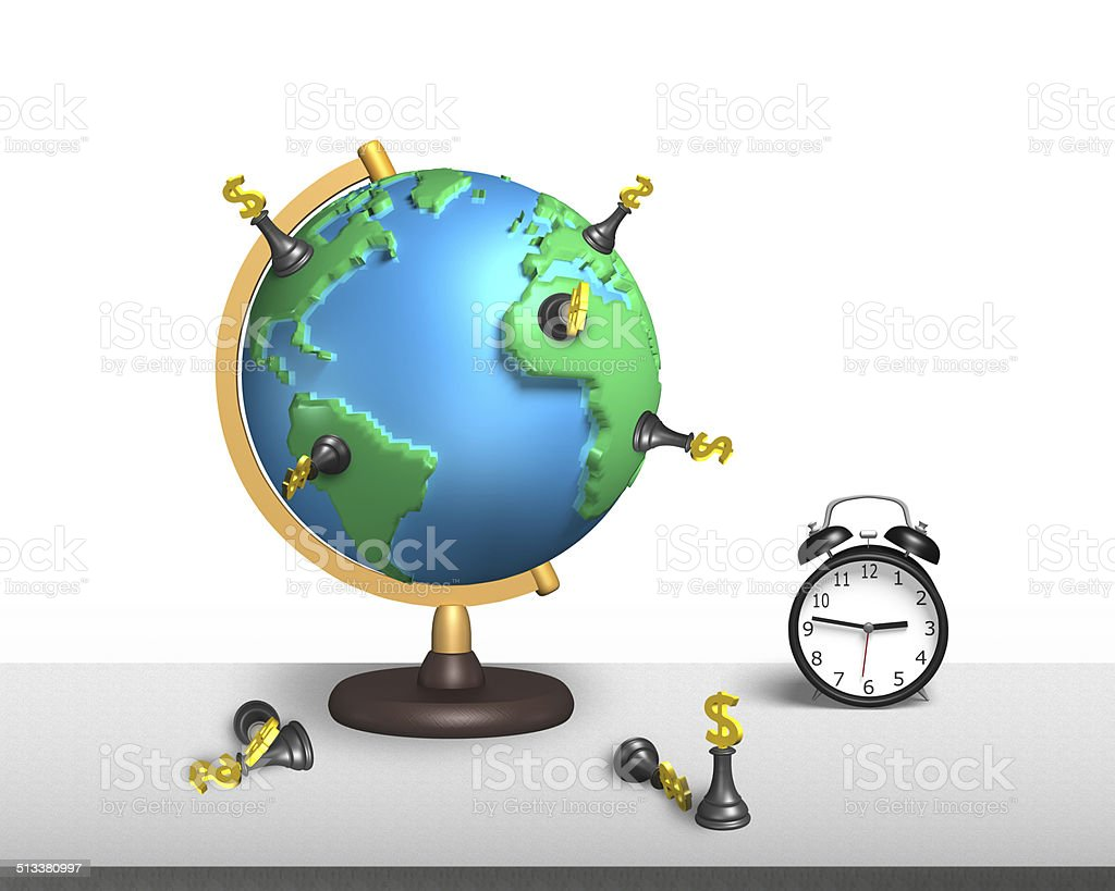 chess stand on 3d map terrestrial globe with clock stock photo
