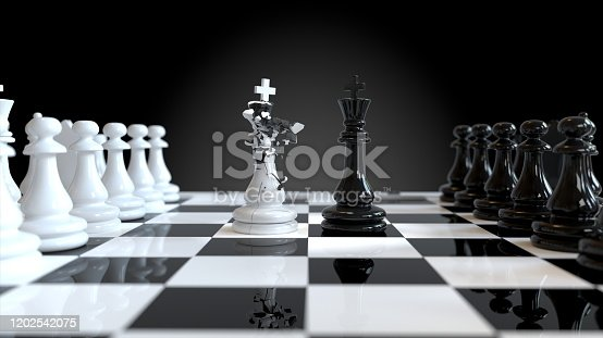 Chess victory, Chess on the chess board. 3d rendering.