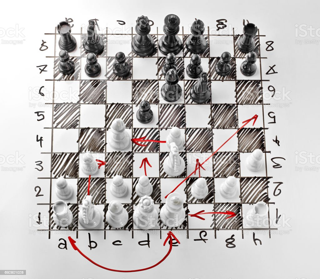 Chess. White board with chess figures on it. Plan of battle. The white Bishop is under attack. stock photo