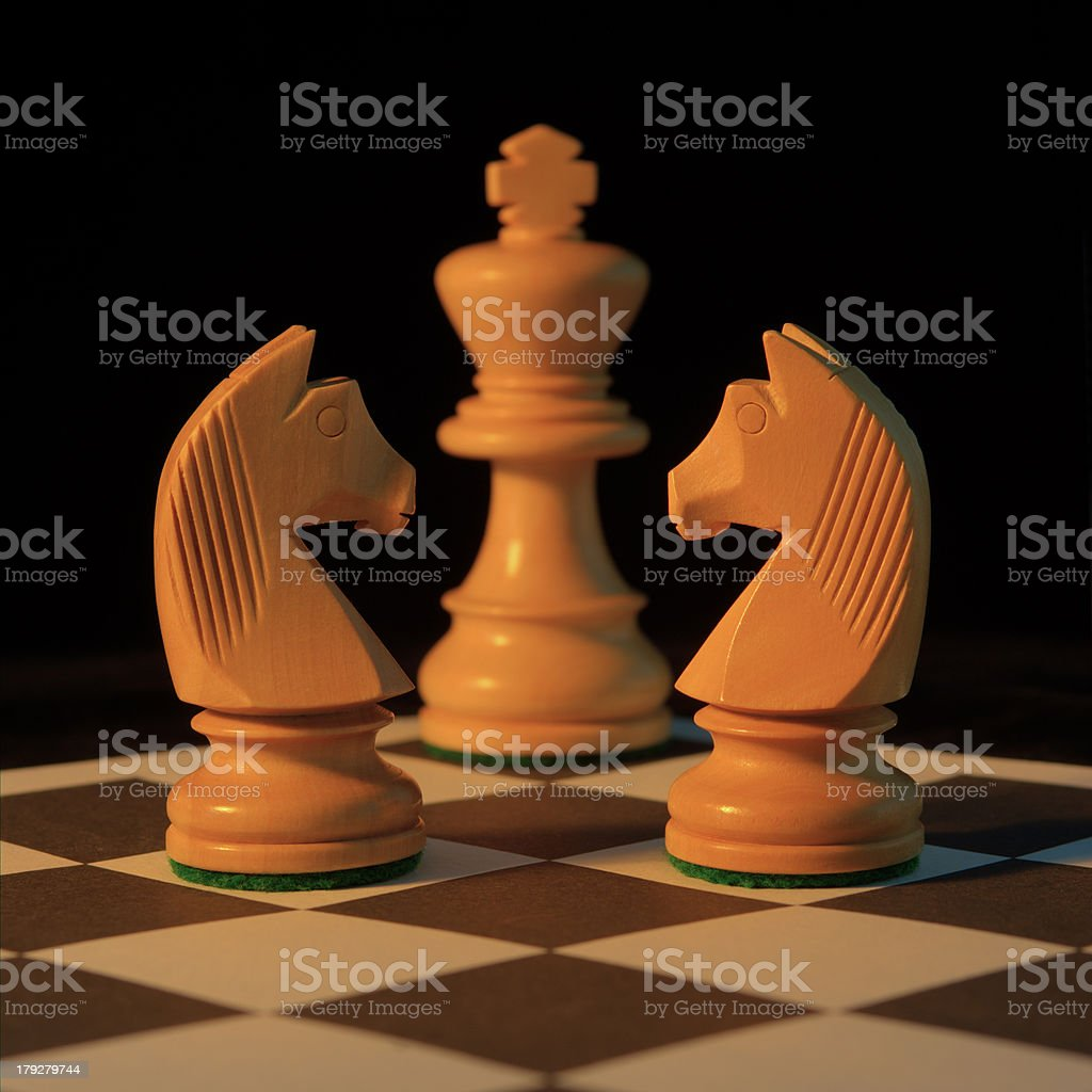 Chess White Knights Guarding King royalty-free stock photo
