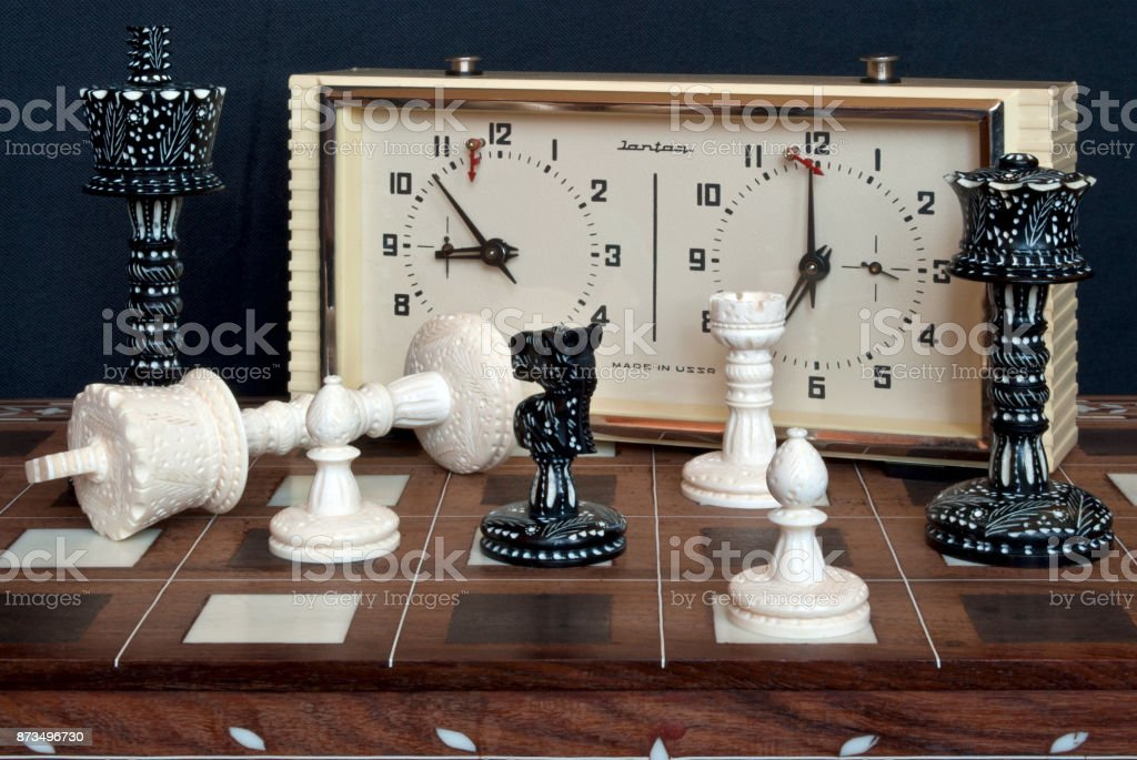 Chess with clock. stock photo