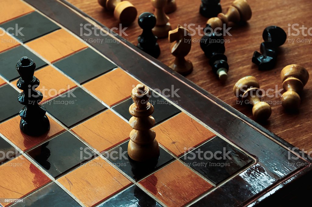 Chess. Wooden board with king chess figures on it royalty-free stock photo