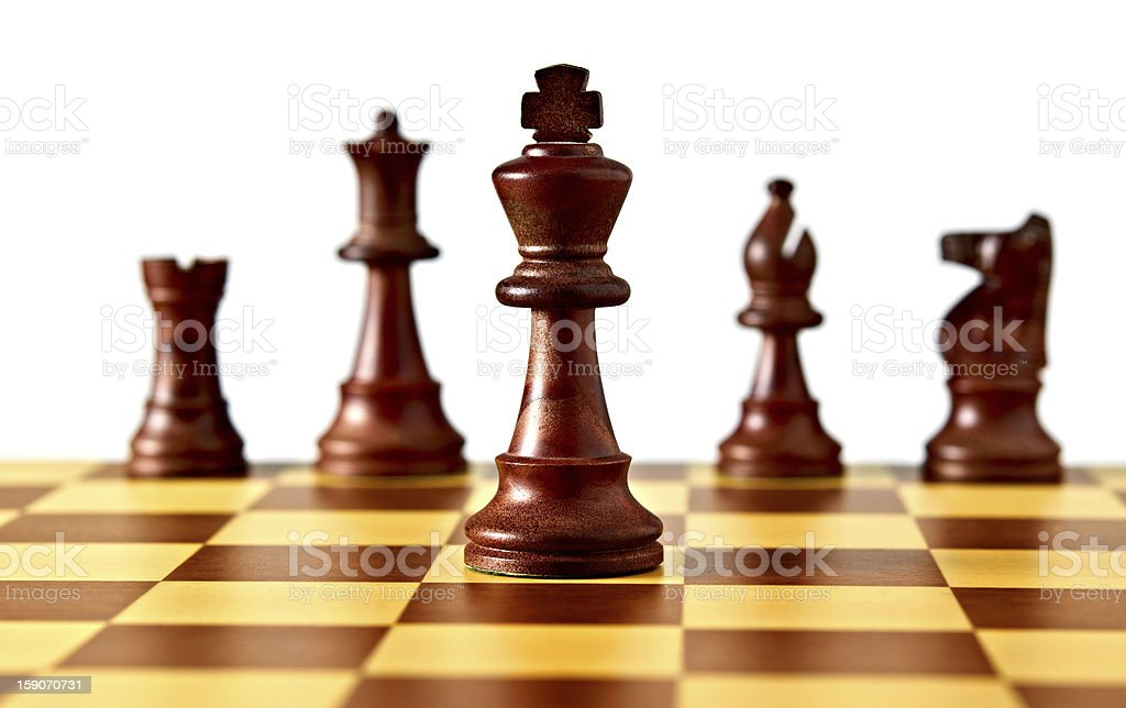 Chessboard and pieces royalty-free stock photo