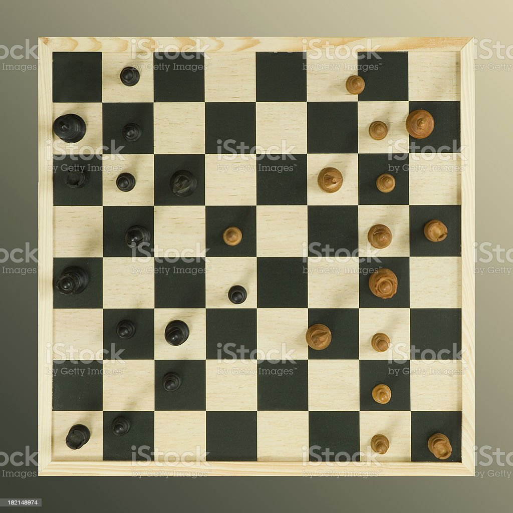 Chessboard from above royalty-free stock photo