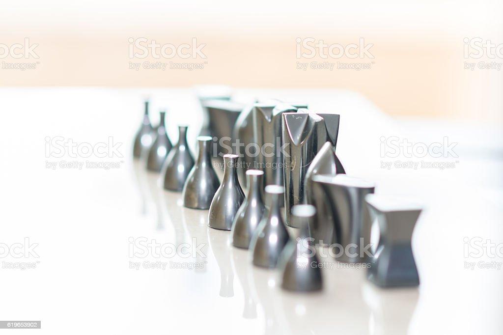 Chessboard metal pieces - foto de stock