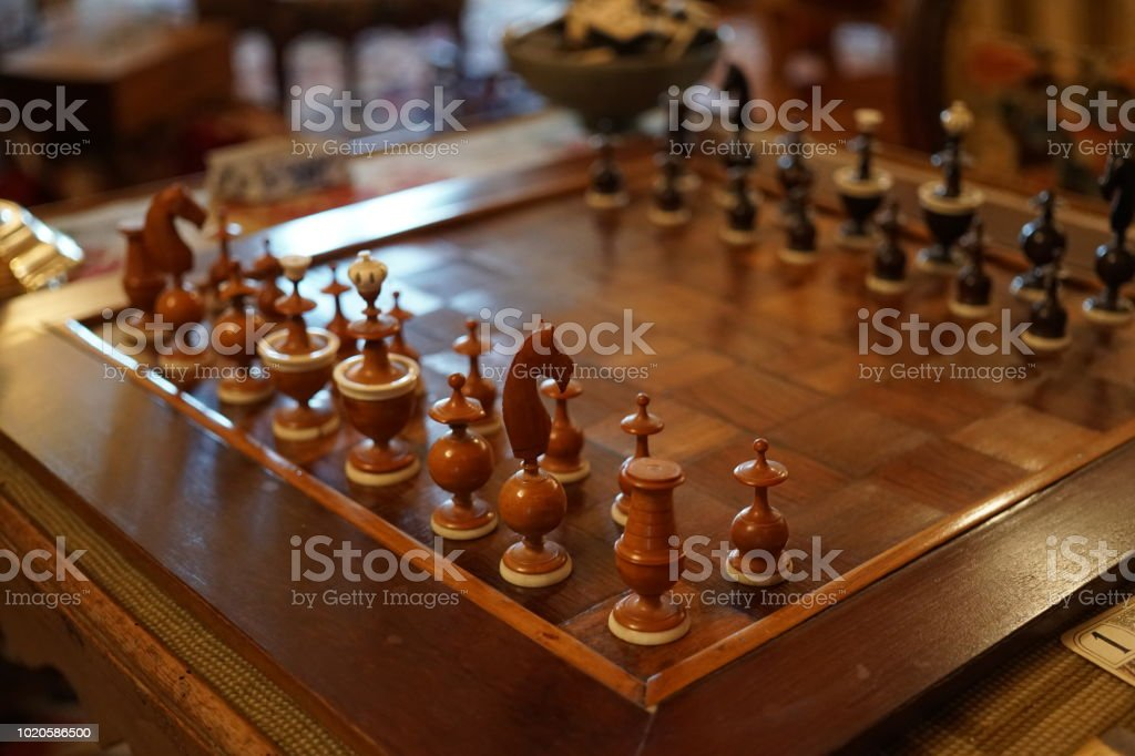 Classic chessboard strategy game made of wood