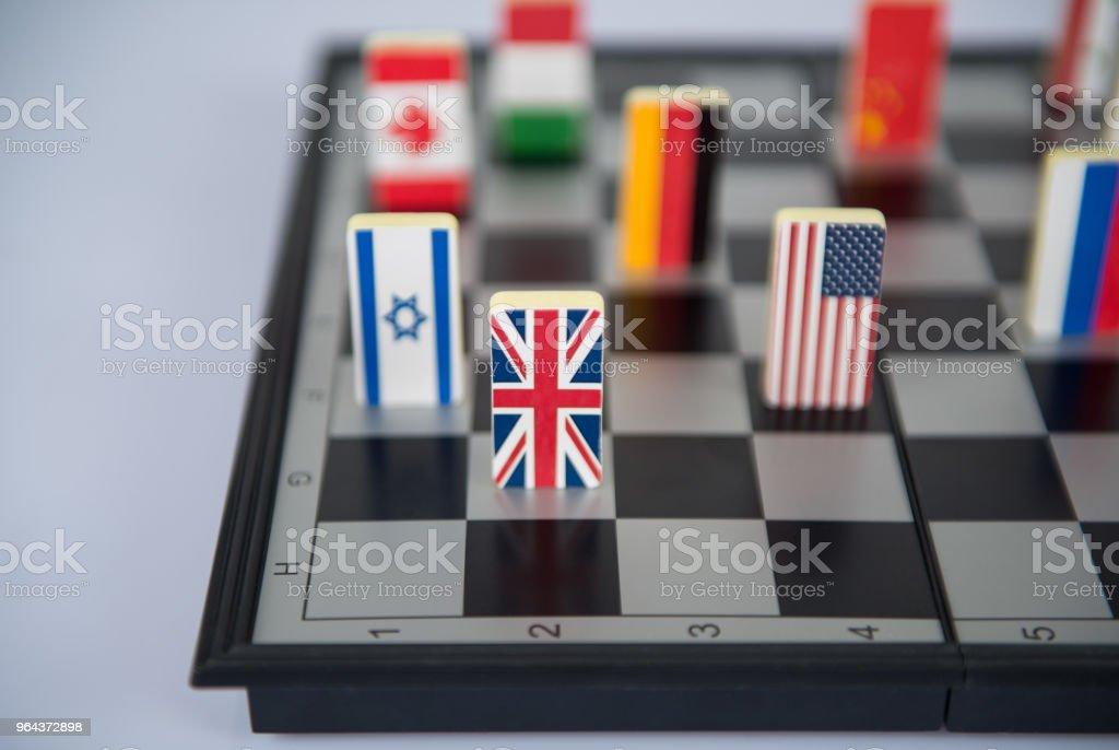 schaakbord met vlaggen van landen - Royalty-free Achtergrond - Thema Stockfoto