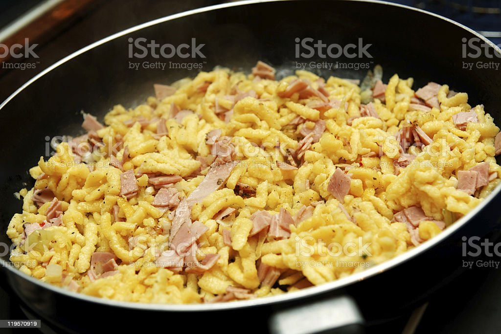 Chesse noodles in a pan stock photo
