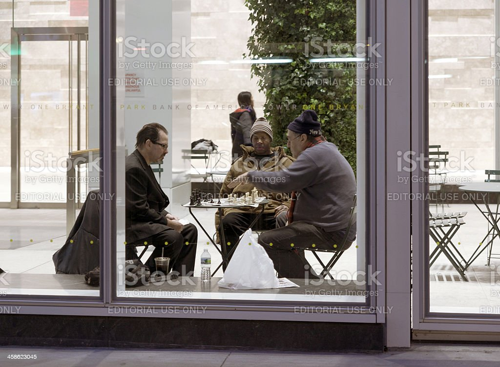 Chessplayes in the BANK OF AMERICA lobby royalty-free stock photo