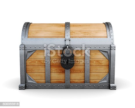 istock Chest in a castle isolated on a white background. 506355818