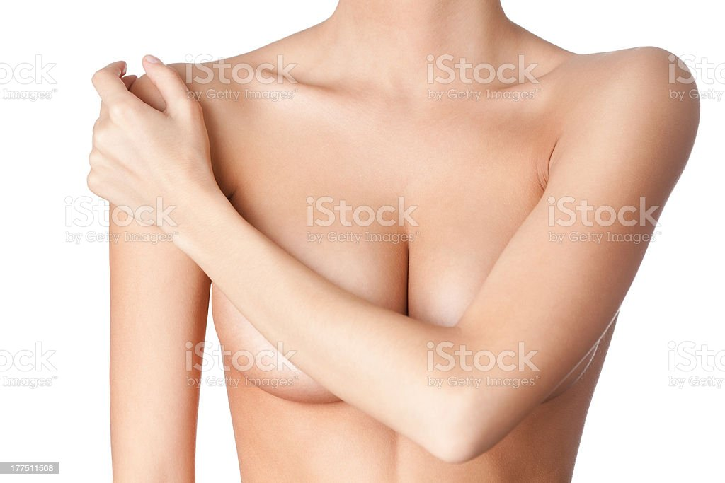 Chest of a young woman stock photo