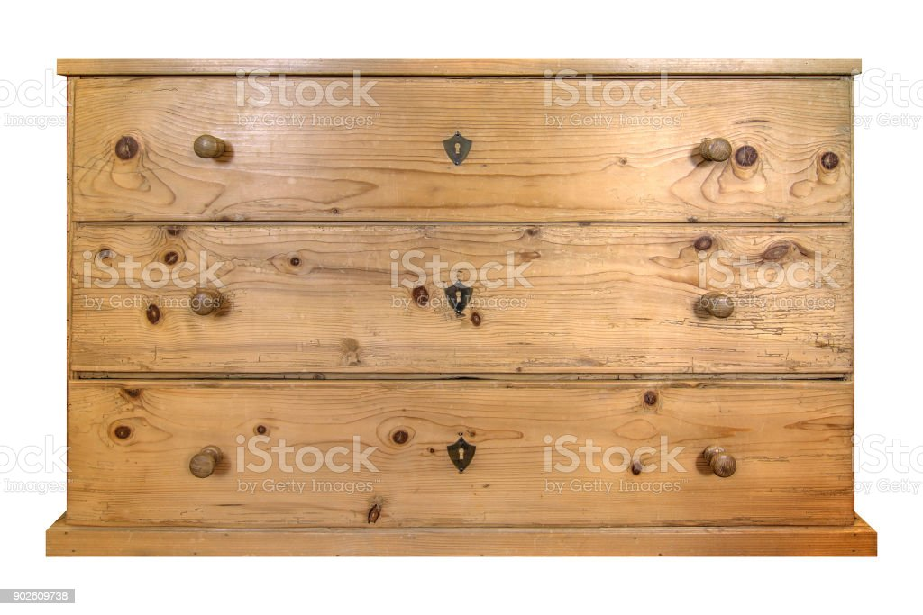 Chest of drawers on white background stock photo
