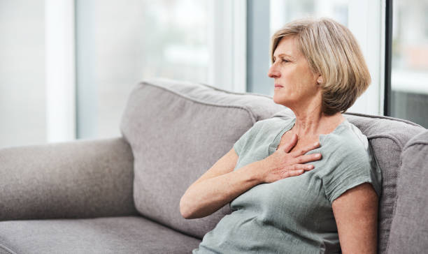 Chest pain is a cause for concern stock photo