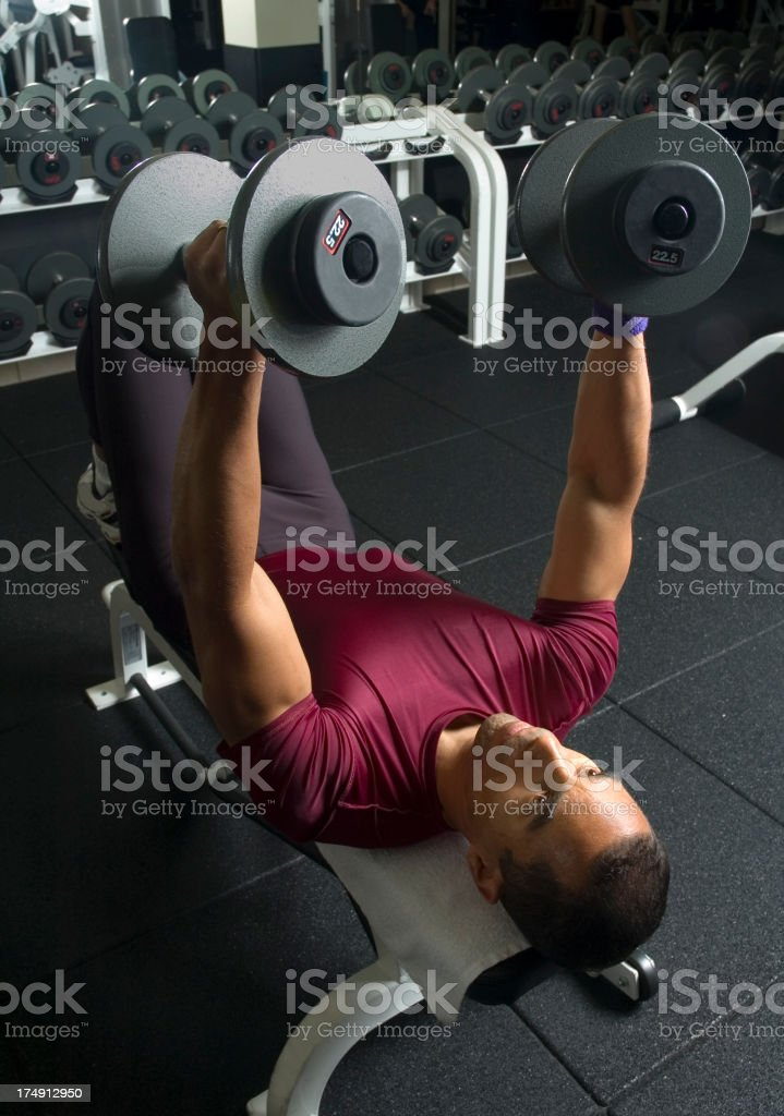 Chest Press With Dumbbells royalty-free stock photo