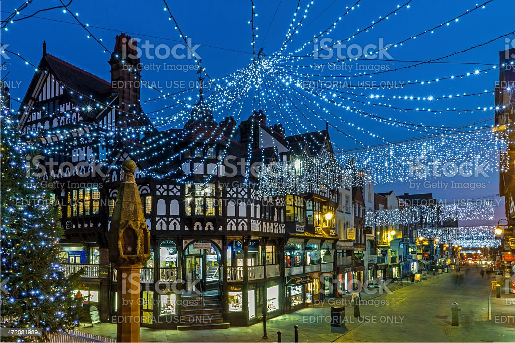 Chester Christmas Shopping stock photo