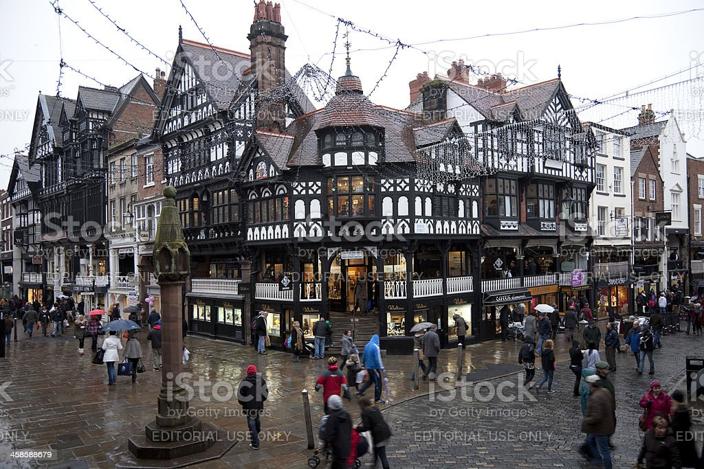 Chester city centre shopping royalty-free stock photo