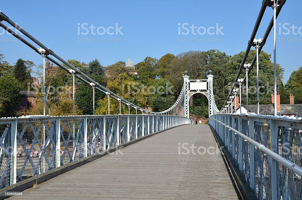 Chester City Suspension Bridge over River Dee royalty-free stock photo