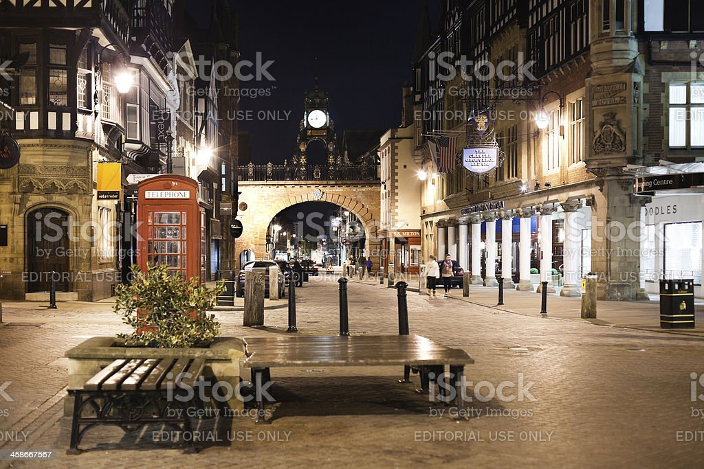 Chester Eastgate at night stock photo