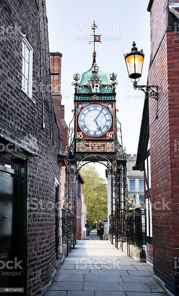 Chester Eastgate Clock from the rampart stock photo