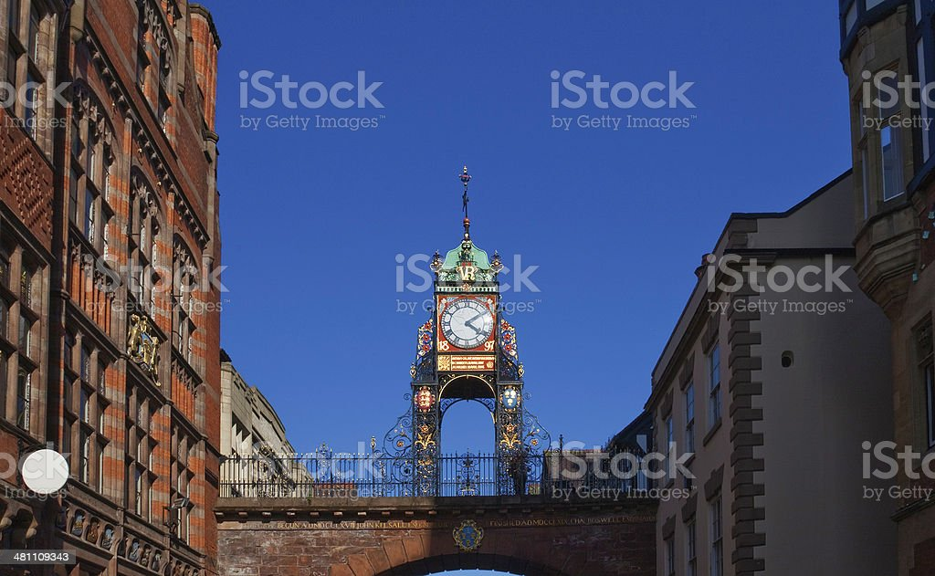 Chester Eastgate clock with surrounding buildings stock photo