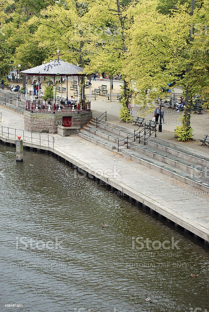 Chester riverside promenade with some tourists royalty-free stock photo