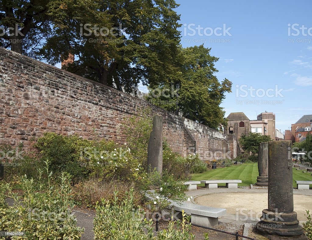 Chester Roman Gardens alongside the ancient city wall royalty-free stock photo