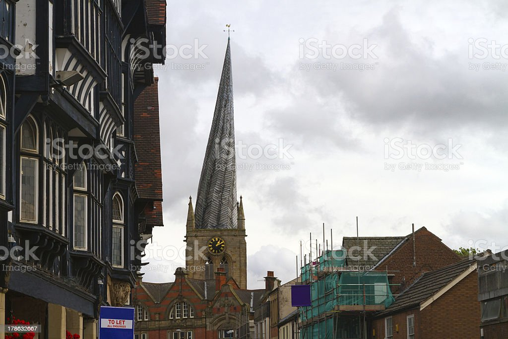 Chesterfield crooked spire stock photo