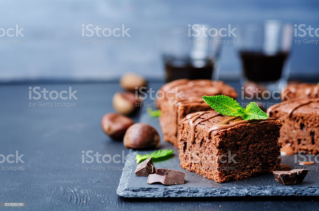 chestnut brownies with chocolate icing stock photo