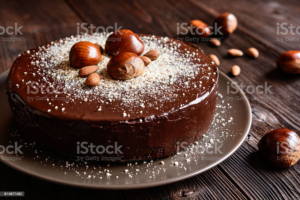 Chestnut cake with almonds and chocolate stock photo